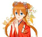 1girl alternate_costume alternate_hairstyle andrea_ryan bangs blue_eyes blurry blurry_background commentary double_bun english_commentary fingers_together floral_background floral_print flower hair_between_eyes hair_flower hair_ornament highres japanese_clothes kanzashi kimono long_hair long_sleeves looking_at_viewer low_twintails neon_genesis_evangelion open_mouth orange_hair red_kimono red_nails shikinami_asuka_langley smile solo souryuu_asuka_langley twintails upper_body