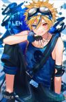 1boy :d belt black_gloves black_pants blonde_hair blue_background blue_eyes blue_shirt character_name commentary elbow_pads fingerless_gloves gloves goggles goggles_on_head heterochromia highres kagamine_len knee_up lightning_stone_(module) looking_at_viewer male_focus nail_polish open_mouth pants project_diva_(series) red_eyes scrunchie shinotarou_(nagunaguex) shirt shoes sitting skull_print smile sneakers spiky_hair tank_top tongue tongue_out vocaloid wrist_scrunchie yellow_nails
