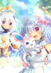 2girls :t ;d animal_ear_fluff animal_ears bangs bare_shoulders black_gloves blue_eyes blue_hair blurry blurry_background blush boots bow character_request closed_mouth commentary_request crossover depth_of_field detached_sleeves dress eyebrows_visible_through_hair fang genshin_impact gloves hair_between_eyes hair_bow halo hug indie_virtual_youtuber knee_boots kouu_hiyoyo long_hair long_sleeves multiple_girls one_eye_closed open_mouth paimon_(genshin_impact) partially_fingerless_gloves pink_bow pout red_eyes shimo_hisae silver_hair sleeves_past_wrists smile vambraces violet_eyes white_dress white_footwear white_sleeves