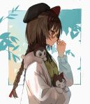 1girl animal animal_ears animal_on_shoulder beret black_headwear black_neckwear blush braid braided_ponytail brown_eyes brown_hair dog dog_ears dress from_side glasses gold-framed_eyewear green_dress hat highres holding holding_animal inui_toko jacket long_sleeves neck_ribbon nijisanji playing_with_own_hair ribbon sen_(sennosenn1127) upper_body