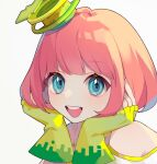 1girl bangs bare_shoulders blue_eyes commentary face fingerless_gloves gloves hat heridy kamen_rider kamen_rider_ex-aid_(series) looking_at_viewer open_mouth pink_hair poppi_pipopapo short_hair smile solo
