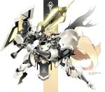 1girl absurdres animal_ear_fluff animal_ears arknights armor bangs blonde_hair breastplate character_name commentary_request eyebrows_visible_through_hair hair_between_eyes headset highres holding holding_weapon horse_ears long_hair looking_at_viewer mecha nearl_(arknights) orange_eyes shinnasuka025 shoulder_armor sidelocks solo weapon white_background