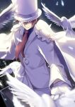 1boy bangs bird brown_hair cape commentary_request cowboy_shot dove feathers formal gloves hand_up hat highres jacket kaitou_kid kyuu_(chiu850513) long_sleeves magic_kaito male_focus meitantei_conan monocle necktie night outdoors pants red_neckwear short_hair smile solo suit top_hat white_cape white_feathers white_gloves white_headwear white_jacket white_pants white_suit