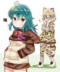 ! alternate_hairstyle animal_ears bare_shoulders blue_hair bow bowtie cat_ears cat_girl cat_tail commentary_request dress extra_ears eyebrows_visible_through_hair fang frilled_dress frills glasses gloves green_eyes hands_in_pockets high-waist_skirt highres hood hood_down hoodie kemono_friends long_hair long_sleeves margay_(kemono_friends) margay_print neck_ribbon open_mouth pleated_skirt print_gloves print_legwear print_neckwear print_skirt red_eyes red_neckwear ribbon skirt sleeveless snake_print squiggle suicchonsuisui tail thigh-highs tsuchinoko_(kemono_friends) zettai_ryouiki