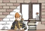 1girl annette_fantine_dominic bangs book book_stack brick_wall closed_eyes closed_mouth cup epaulettes fire_emblem fire_emblem:_three_houses flower garreg_mach_monastery_uniform hair_rings indoors left-handed long_sleeves nishikuromori orange_flower orange_hair paper saucer short_hair solo uniform vase window writing