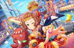 blush brown_eyes brown_hair dress idolmaster_cinderella_girls_starlight_stage namba_emi short_hair smile wink yukata