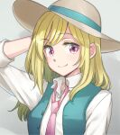 1girl aqua_vest collared_shirt copyright_request hand_on_headwear hat necktie niina_ryou open_clothes open_vest pink_eyes pink_neckwear polka_dot_neckwear shirt sleeves_pushed_up solo sun_hat vest white_shirt
