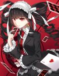 1girl black_hair bonnet card celestia_ludenberck commentary_request danganronpa danganronpa_1 drill_hair earrings frills gothic_lolita highres jewelry lolita_fashion long_hair looking_at_viewer nail_polish nanace_0 necktie playing_card red_eyes smile solo twin_drills twintails