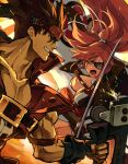 1boy 1girl amputee baiken big_hair black_gloves black_jacket black_kimono breasts brown_hair clenched_teeth commentary_request eyepatch facial_tattoo fighting fingerless_gloves gloves guilty_gear guilty_gear_xrd holding holding_sword holding_weapon jacket jacket_on_shoulders jako_(toyprn) japanese_clothes kataginu katana kimono large_breasts multicolored multicolored_clothes multicolored_kimono one-eyed open_clothes open_kimono open_mouth pink_hair ponytail red_eyes samurai scar scar_across_eye sol_badguy spiky_hair sword tattoo teeth weapon white_kimono