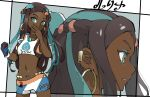 1girl aqua_eyes armlet black_hair blue_eyeshadow blue_hair breasts character_name cowboy_shot dark_skin earrings eyelashes eyeshadow gloves gym_leader hand_up holding holding_poke_ball hoop_earrings jewelry long_hair makeup multicolored multicolored_clothes multicolored_gloves multicolored_hair multiple_views navel necklace nessa_(pokemon) nishikuromori number parted_lips poke_ball poke_ball_(basic) pokemon pokemon_(game) pokemon_swsh profile single_glove small_breasts swimsuit tankini two-tone_hair upper_body very_long_hair