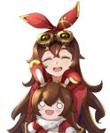 1girl 1other :d amber_(genshin_impact) amco animal_ears bangs baron_bunny brown_hair closed_eyes commentary facing_viewer fake_animal_ears fang genshin_impact goggles goggles_on_head hair_between_eyes hair_ribbon highres holding jacket long_hair long_sleeves open_mouth rabbit_ears red_jacket red_ribbon ribbon simple_background smile upper_body upper_teeth white_background