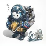 2boys air_bubble baby backpack bag bb-28 beached_thing belt_pouch boots bubble chibi chibi_inset cosplay crossover fall_guy fall_guys fleeing flying_sweatdrops gloves helmet inoki-08 monster multiple_boys pouch sam_porter_bridges sam_porter_bridges_(cosplay) simple_background skeletal_arm skull slime white_background