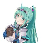 1girl bangs breasts chest_jewel earrings eyebrows_visible_through_hair from_above green_eyes green_hair highres jewelry large_breasts long_hair long_ponytail looking_at_viewer pneuma_(xenoblade) ponytail sarasadou_dan simple_background smile solo swept_bangs tiara upper_body white_background xenoblade_chronicles_(series) xenoblade_chronicles_2