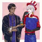 2boys american_flag american_flag_print arjuna_(fate/grand_order) bag bangs belt black_belt black_eyes black_gloves black_hair blue_eyes blue_pants border closed_mouth commentary_request cowboy_shot cupcake dark_skin dark_skinned_male dress_shirt earrings elbow_gloves fate/grand_order fate_(series) flag_print food gloves hair_between_eyes hair_strand hand_up hat heroic_spirit_traveling_outfit holding holding_bag holding_food indian_clothes izkeycc jewelry karna_(fate) looking_at_another male_focus multiple_boys open_mouth pale_skin pants pink_background purple_robe red_shirt shirt short_hair sleeves_rolled_up standing sweatdrop top_hat white_border white_hair wide_sleeves