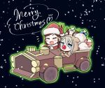 2girls :d ange_(princess_principal) animal_costume blue_eyes bow brown_hair car christmas commentary_request dorothy_(princess_principal) gift ground_vehicle heart merry_christmas motor_vehicle multiple_girls niina_ryou open_mouth princess_principal red_nose reindeer_costume sack santa_costume silver_hair smile snowing v