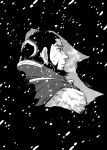 1boy absurdres ainu_clothes beard black_hair deko_(pixiv13085538) earrings facial_hair golden_kamuy greyscale highres hoop_earrings jewelry kiroranke looking_to_the_side male_focus monochrome outdoors snowing solo thick_eyebrows upper_body