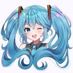 1girl ;d black_shirt blackchild_owl blue_eyes blue_hair blue_neckwear collared_shirt cropped_torso curly_hair dot_nose eyebrows_visible_through_hair eyelashes eyes_visible_through_hair floating_hair hair_between_eyes hatsune_miku heart heart_in_eye highres light_blush long_hair necktie one_eye_closed open_mouth shaded_face shiny shiny_hair shirt sidelocks simple_background sleeveless sleeveless_shirt smile solo sparkling_eyes star_(symbol) star_in_eye symbol_in_eye tareme teeth twintails upper_body upper_teeth vocaloid white_background