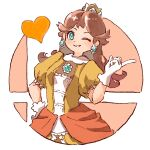 1girl ;) blue_eyes brooch brown_hair dress earrings eyebrows_visible_through_hair flipped_hair flower_earrings gloves grin hand_on_hip hand_up heart index_finger_raised jewelry long_hair looking_at_viewer mario_(series) nishikuromori one_eye_closed orange_dress princess princess_daisy puffy_short_sleeves puffy_sleeves short_sleeves simple_background smash_ball smile solo super_smash_bros. white_background white_gloves