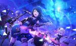 black_hair blue_eyes dress guitar hoshino_ichika_(project_sekai) long_hair project_sekai