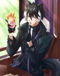 1boy absurdres animal_ears belt black_coat black_gloves black_hair black_legwear chair coat condensation day dessert food formal fur-trimmed_coat fur_trim gloves half_gloves highres holding holding_spoon holostars indoors jackal_ears jackal_tail jacket kageyama_shien leather leather_jacket licking looking_to_the_side multicolored_hair open_clothes open_coat pants parfait silou_b solo spoon suit sunlight tree two-tone_hair utensil_in_mouth window wooden_table yellow_eyes