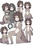/\/\/\ 2girls :> absurdres black_hair blush bodysuit bright_pupils brown_hair character_request closed_mouth frown highres horns jitome lan_mao_akko leg_hug long_tail looking_at_viewer medium_hair multiple_girls multiple_views navel open_mouth orange_eyes personification prehensile_tail restrained single_horn smile standing tail ultra_kaijuu_gijinka_keikaku ultra_series white_background white_pupils x_arms