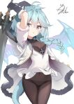 1girl :o ahoge aliter arms_up ass_visible_through_thighs bangs black_gloves blue_hair blue_wings braid breasts brown_legwear commentary_request covered_navel dragon_girl dragon_tail dragon_wings dress elbow_gloves eyebrows_visible_through_hair fur-trimmed_gloves fur-trimmed_sleeves fur_trim gloves hair_between_eyes highres holding holding_sword holding_weapon jacket long_hair looking_at_viewer open_clothes open_jacket panties panties_under_pantyhose pantyhose parted_lips princess_connect! princess_connect!_re:dive shefi_(princess_connect!) short_sleeves signature simple_background single_braid small_breasts solo sword tail thigh_gap underwear v-shaped_eyebrows violet_eyes weapon white_background white_dress white_jacket wings