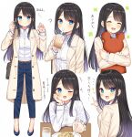 1girl :d black_hair blue_eyes blush closed_mouth collared_shirt cup denim drinking highres holding holding_cup jacket jeans long_hair long_sleeves mizukoshi_(marumi) multiple_views one_eye_closed open_mouth original pants shirt shoes smile unbuttoned white_background white_shirt