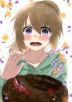 1boy absurdres bangs birthday_cake blueberry blush brown_hair cake character_name chocolate_cake collarbone confetti dated embarrassed eyebrows_visible_through_hair flying_sweatdrops food fruit hair_between_eyes happy_birthday highres hood hoodie long_hair long_sleeves looking_at_viewer minashiro_soushi_(2) open_mouth ponytail raspberry shimotsukishin simple_background solo soukyuu_no_fafner strawberry sweatdrop violet_eyes wavy_mouth white_background