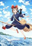 1girl :d animal_on_shoulder artist_name bag bird black_cat blue_sky blush bow broom broom_riding brown_hair cat cat_on_shoulder day dress flying full_body hair_bow hairband highres jiji_(majo_no_takkyuubin) kiki kiyohiko_(qingyan) majo_no_takkyuubin open_mouth outdoors radio red_bow red_footwear red_hairband seagull short_hair sky smile solo witch