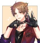 1boy ahoge bangs black_collar black_gloves black_shirt blush brown_background brown_eyes brown_hair collar collarbone eyebrows_visible_through_hair fushimi_gaku gloves hands_up jacket long_sleeves looking_at_viewer low_ponytail male_focus mole mole_under_eye nijisanji open_clothes open_jacket parted_bangs parted_lips partially_fingerless_gloves ponytail red_jacket shikino_yuki shirt solo sparkle upper_body virtual_youtuber