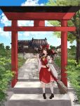 1girl ascot bamboo_broom blue_sky bow broom brown_eyes brown_hair bush clouds cloudy_sky dappled_sunlight detached_sleeves frilled_skirt frills full_body hakurei_reimu hakurei_shrine highres japanese_clothes looking_to_the_side miko navel outdoors path red_bow red_skirt ribbon-trimmed_sleeves ribbon_trim rooftop rope sakuremi shade shide shimenawa shrine signature skirt sky solo stairs stone_lantern stone_path stone_stairs sunlight sweeping torii touhou tree wide_sleeves