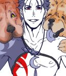 1boy 2others animal blue_hair bobtomgom bodypaint chest_strap chow_chow collarbone crescent_necklace cu_chulainn_(fate)_(all) dog earrings fang fate/grand_order fate_(series) grin highres jewelry lancer looking_at_viewer male_focus multiple_others nipples paws red_eyes short_hair slit_pupils smile spiky_hair st_bernard tongue tongue_out type-moon