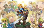 6+boys 6+girls arrow_(projectile) blonde_hair blue_eyes blue_scarf boots bow_(weapon) brown_hair dark_skin dark_skinned_female dress fingerless_gloves flower gloves hat hyrule_warriors link long_hair looking_at_viewer master_sword matt_herms multiple_boys multiple_girls multiple_persona pointy_ears princess_zelda quiver red_scarf scarf serious sheik sheikah_slate shield sword tetra the_legend_of_zelda the_legend_of_zelda:_a_link_to_the_past the_legend_of_zelda:_breath_of_the_wild the_legend_of_zelda:_ocarina_of_time the_legend_of_zelda:_skyward_sword the_legend_of_zelda:_the_wind_waker the_legend_of_zelda:_twilight_princess the_legend_of_zelda_(nes) tiara toon_link triforce turban weapon young_link
