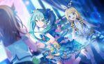 blush dress green_eyes green_hair hatsune_miku kagamine_rin long_hair project_sekai smile twintails
