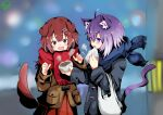 2girls absurdres adapted_costume ahoge animal_ear_fluff animal_ears aoi_rt0 bag baozi bone_hair_ornament brown_eyes brown_hair carrying_bag cat_ears cat_tail city city_lights dated dog dog_ears dress elbow_carry food grey_jacket hair_ornament highres hololive inugami_korone jacket multiple_girls nekomata_okayu night open_mouth paw_print plastic_bag purple_hair red_dress saliva scarf sharing_food signature steam tail tail_wagging violet_eyes virtual_youtuber