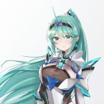 1girl bangs breasts chest_jewel earrings eyebrows_visible_through_hair green_eyes green_hair highres jewelry large_breasts long_hair long_ponytail pneuma_(xenoblade) ponytail sarasadou_dan simple_background smile solo swept_bangs tiara upper_body very_long_hair white_background xenoblade_chronicles_(series) xenoblade_chronicles_2