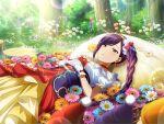 closed_eyes dress liu_meifeng long_hair ponytail purple_hair shoujo_kageki_revue_starlight smile
