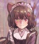 1girl :3 animal_ears apron bangs black_hair blush cat_ears cat_hair_ornament flower frilled_apron frills hair_flower hair_ornament heterochromia inui_toko japanese_clothes kimono long_hair low_twintails maid_headdress nijisanji red_eyes simple_background solo twintails upper_body virtual_youtuber white_apron yami_(m31) yellow_eyes