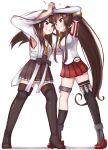 2girls ahoge black_legwear boots brown_hair brown_skirt catfight cherry_blossoms detached_collar detached_sleeves double_bun eye_contact flower grey_eyes hair_flower hair_ornament headgear highres hip_vent japanese_clothes kantai_collection kongou_(kantai_collection) long_hair looking_at_another motion_blur multiple_girls pleated_skirt ponytail red_skirt ribbon-trimmed_sleeves ribbon_trim simple_background single_thighhigh skirt standing thigh-highs thigh_boots tiemu_(man190) white_background yamato_(kantai_collection)