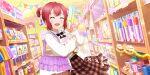 blush closed_eyes dress kurosawa_ruby love_live!_school_idol_festival_all_stars pink_hair short_hair