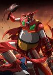 axe blood bloody_weapon cape debris embers gamiani_zero getter-1 getter_dragon getter_robo getter_robo_g highres holding holding_axe holding_clothes holding_scarf mecha no_humans scarf smoke solo_focus spikes stepped_on super_robot weapon yellow_eyes