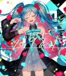 1girl 2019 alternate_costume aqua_background argyle argyle_background arm_at_side armpit_crease bare_legs bare_shoulders black_background blue_flower blue_hair blue_ribbon blue_rose blurry blush bouquet breasts buttons closed_eyes collared_dress commentary_request confetti cowboy_shot crying dated depth_of_field detached_sleeves dot_nose dress eyebrows_visible_through_hair eyelashes facing_viewer floating_hair floral_background flower flying_teardrops grey_dress hair_flower hair_ornament hand_up happy happy_tears hatsune_miku high_collar legs_apart light_particles long_hair long_sleeves multicolored multicolored_background open_mouth petals pleated_dress puffy_long_sleeves puffy_sleeves red_flower red_rose ribbon rose see-through see-through_dress see-through_sleeves shaded_face shiny shiny_hair short_dress shoulder_blush sleeveless sleeveless_dress small_breasts smile solo standing streaming_tears tareme tears teeth twintails ume_neko_(otaku-nyanko) upper_teeth vocaloid white_background