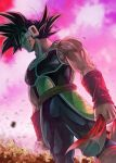 1boy bardock black_eyes black_hair bracer closed_mouth dragon_ball dragon_ball_z looking_afar male_focus mattari_illust monkey_tail muscle pink_sky saiyan_armor scar scar_on_face scouter solo standing tail