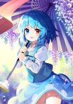1girl :d blue_eyes blue_hair blue_skirt blue_vest blurry blush commentary_request contrapposto cowboy_shot depth_of_field geta hanging_plant heterochromia highres holding holding_umbrella juliet_sleeves karakasa_obake long_sleeves looking_at_viewer open_mouth puffy_sleeves rain red_eyes shirt short_hair skirt smile socks solo standing tatara_kogasa thighs touhou umbrella vest white_shirt yuujin_(yuzinn333)