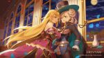 2girls :d artist_name bangs bare_shoulders bella_(dragalia_lost) belt belt_buckle black_gloves black_headwear black_shorts blonde_hair blue_flower blue_rose blurry blurry_background breasts brown_legwear buckle chelle_(dragalia_lost) commentary depth_of_field detached_sleeves double_bun dragalia_lost dress english_commentary eyebrows_visible_through_hair flower full_moon gloves green_eyes gun handgun hat hentaki holding holding_gun holding_weapon indoors juliet_sleeves legwear_under_shorts long_hair long_sleeves medium_breasts moon multiple_girls night open_mouth pantyhose petals puffy_sleeves purple_dress revolver rose rose_petals short_shorts shorts sleeves_past_wrists smile strapless strapless_dress sweat tiara v-shaped_eyebrows vase very_long_hair watermark weapon web_address white_belt window