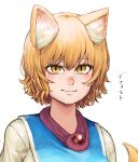 1girl absurdres animal_ear_fluff animal_ears blush brooch chanta_(ayatakaoisii) fox_ears fox_tail highres jewelry looking_at_viewer nose_blush portrait shirt simple_background slit_pupils smile solo tabard tail touhou upper_body white_background white_shirt yakumo_ran yellow_eyes
