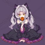 1girl aikohgin animal_ear_fluff animal_ears bangs between_legs black_bow black_dress black_ribbon blunt_bangs bow cat_ears cat_tail chain covering_mouth dress flower frilled_dress frills gothic_lolita gradient_eyes green_eyes grey_hair hand_between_legs hand_up highres holding holding_flower hololive lolita_fashion long_hair looking_at_viewer multicolored multicolored_eyes murasaki_shion orange_eyes pink_nails purple_background ribbon rose sitting solo strapless strapless_dress tail tail_bow tsurime twintails wariza