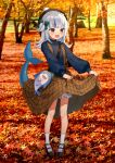 1girl :o alternate_costume autumn autumn_leaves bangs black_footwear bloop_(gawr_gura) blue_eyes blue_hair blue_shirt blunt_bangs blush bow braid brown_dress commentary dress dress_lift eyebrows_visible_through_hair fish_tail full_body gawr_gura green_bow hair_bow hair_ornament hat highres hololive hololive_english kura_noi long_sleeves mary_janes multicolored_hair outdoors pinecone pom_pom_(clothes) puffy_long_sleeves puffy_sleeves shark_hair_ornament shark_tail sharp_teeth shirt shoes skirt_basket socks standing streaked_hair striped striped_shirt suspenders sweatshirt tail teeth tree two-tone_hair virtual_youtuber white_hair white_legwear