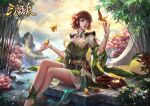 1girl ankle_brace anklet bangle barefoot bird bowl bracelet brown_hair china_dress chinese_clothes crossed_legs dress flower green_dress hair_flower hair_ornament jewelry kdash mountain nature sash scenery short_dress short_hair soaking_feet tree water waterfall wide_sleeves