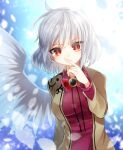 1girl angel_wings backlighting beige_jacket blurry bow bowtie braid breasts bright_pupils brooch closed_mouth commentary depth_of_field dress expressionless eyebrows_visible_through_hair eyes_visible_through_hair finger_to_mouth french_braid fukurahagi_uomaru index_finger_raised jewelry kishin_sagume large_breasts long_sleeves looking_at_viewer petals red_bow red_dress red_eyes short_hair silver_hair single_wing sky solo star_(sky) starry_sky touhou upper_body wings